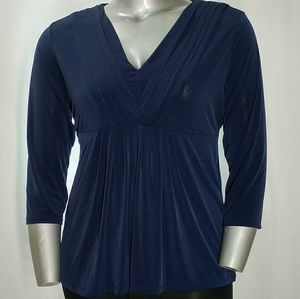 Daisy Fuentes Stretchy V-Neck Empire Blouse, XL
